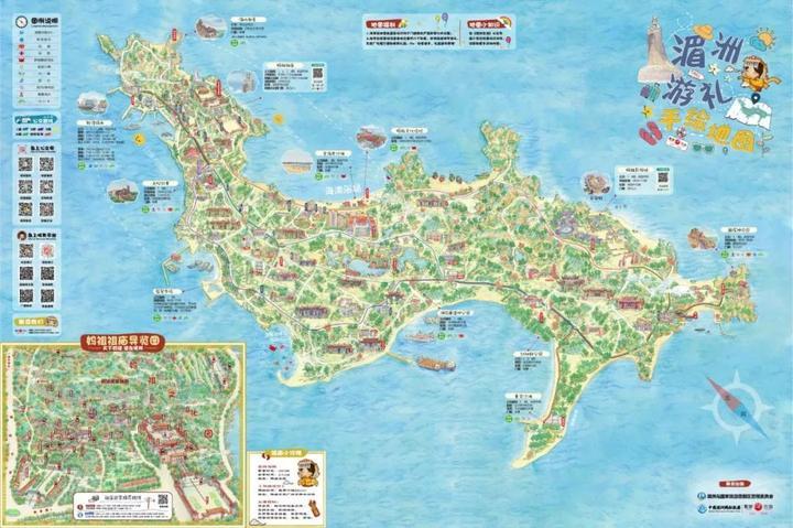 最美湄洲手绘地图