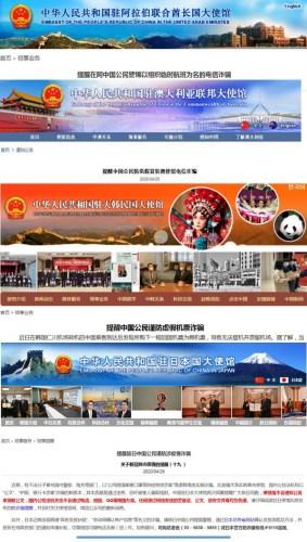 中国驻外使领馆网站截图